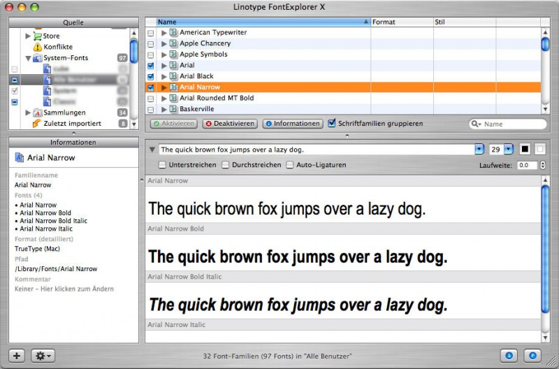 Schriftverwaltung und OS X